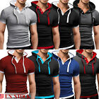 Men's Causal Loose T-shirt Muscle Gym Clothing Bodybuilding Hooded Tee Tops  New
