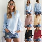 HOT Womens Summer Long Sleeve Casual Blouse Loose Cotton Tops T-Shirt Crew Neck