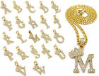 "Unisex Iced Out Alphabet Initial Letter Pendant 24"" Cuban Chain Hip Hop Necklace"