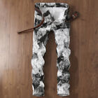 Mens White Black Skinny Straight Slim Fit Jeans Painted Dist