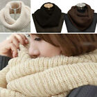 Women Fashion Winter Warm Circle Cable Knit Cowl Neck Long Scarf Shawl Fast Ship