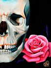 Rose And Skull by Christina Ramos Tattoo Giclee Art Print Colorful Pink Flowers