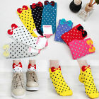 1/5 Pair Candy Color Bowknot Ankle Polka Dot Women Girls Short Cotton Socks New
