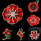 2018 Luxury Rhinestone Diamante Poppy Brooches Pins Banquet Hero Soldier Gifts