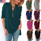 Ladies Long Sleeve Shirts Chiffon V-Neckline Tops Loose Casual Blouse Multicolor