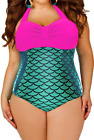 WOMEN SWIMMING PADDED BIKINI, ROSE SPLICE METALLIC MERMAID, PUSH UP SWIMWEAR