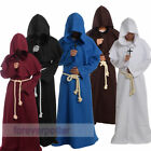 Friar Medieval Robe Hooded Monk Cowl Renaisance Priest Costume Cosplay Halloween
