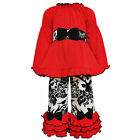 AnnLoren Girls Boutique Holiday Reindeer Tunic and Pants Set 2/3T - 11/12