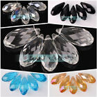 10pcs 12x25mm Teardrop Faceted Crystal Glass Hanging Drops Pendants Beads Lot