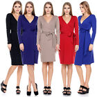 Women's Fashion Long Sleeve V neck Solid Knee Length Tunic Tie Wrap Dress S-XL