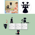 NEW Black Funny Cat Switch Sticker Cute Wall Decal Bedroom Parlor Home Decor