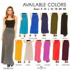 Внешний вид - Maxi Skirt Waist Foldover Solid Long Lightweight Rayon Spandex Regular Plus USA