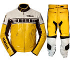 Mens Yellow White Motorbike Leather Suit Sports Motorcycle Racing Gears