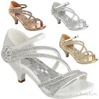 Внешний вид - New Girls Silver Gold White Dress Shoes Rhinestones Heels Pageant Party Angel 48