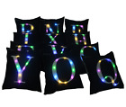 LED Light Alphabet Letter Square Throw Pillow Case Sofa Cushion Cover Home Decor