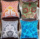 """Indian Euro Sham Cushion Cover 24"""" Square Indian Decorative Throw Pillow Case"""