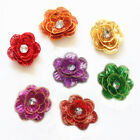 7PCS Small Embroidered 3D Sequins Rhinestones Floral Sewing Appliques WT145