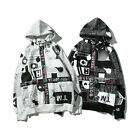 English newspaper print hoodies sweater sweater black&White Ribbon shading S~XL