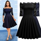 black lace cocktail dresses - Women's Vintage Elegant Lace Cocktail Evening Party Sexy Night Out Flare Dresses