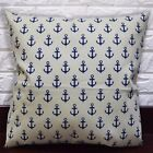 AL266a Dp. Blue Beige Anchor Cotton Canvas Cushion Cover/Pillow Case Custom Size