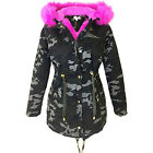 New Ladies Camouflage Jacket Women Parka Coat Faux Fur Trim Hooded Parka Coat