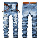 US Stock! Mens Blue Ripped Distressed Jeans Retro Destroyed Straight Denim Pants