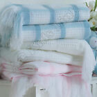 New BeeBo Baby Shawl with Fringe, Check Pattern Baby Boys Girls White Pink Blue