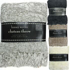 New Luxury Woven Chenille Chateau Design Fringed Throw Blanket 190x150cm