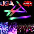 30-600PCS Coloful Light Up Foam Sticks LED Wands Cheer Tube Rally Rave Batons