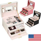 Jewelry Box Storage Organizer Case Ring Earring Necklace Mirror PU Leather Gifts