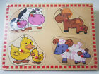 Wooden mum and baby animal Puzzle jigsaw Childrens Kids Learning Toy horse cow