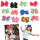 Large Hair Bows Ladies Girls Kids Coloured Diamonte Alligator Clips Ribbon Pins