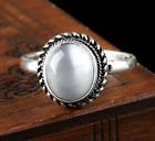 Ladies White Opal Stone Ring Silver Colour Round Oval Women Moonstone Size O Q T