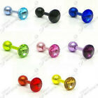 16g NEON TRAGUS BAR CZ GEM HELIX BAR 1.2  6mm 8 COLOURS