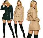Brave Soul Womens Ladies Trench Double Breasted Jacket Buckle Belt COAT B33 HOT