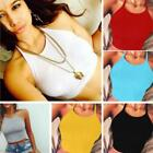 Women Halter Cotton Crop Tops Sleeveless Blouse Vest Tank Tops Tee T-Shirt - S