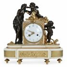 French Louis XVI Neoclassical Bronze Antique Mantel Clock, 19th Century