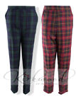 WOMENS LADIES SCOTTISH CHECK TARTAN HALF ELASTIC STRAIGHT LEG TROUSER SIZE 10-20