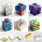 Clear Transparent PVC Cube Chocolate Sweets Cup Cake Wedding Favour Gift Boxes