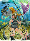Hello There by Kris Chisholm Sexy Female Scuba Diver Mermaid Canvas Art Print