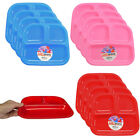 4pk Kids 3-Section Divided Plate BPA Free Plastic Reusable Dinner Divider Tray