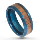 8mm 2-Tone Beveled Edge Blue IP Tungsten w/ Hawaiian Koa Wood Center Ring #752