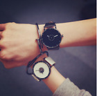 1PC Korean Style Faux Leather Band Quartz Analog For Women Men Lover Wrist Watch