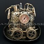 New Halloween Metallic Steampunk Burning man Cosplay Costume Mask& Hat