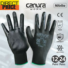 12 24 Pairs Work Gloves Nitrile Coated General Purpose Garden Hand Protection