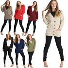 New Womens Girls Chunky Top Long Sleeve Aran Cable Knitted Grandad Cardigan Tops