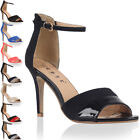 NEW WOMENS ANKLE STRAP LADIES PEEP TOE HIGH STILETTO HEEL SANDALS SHOES SIZE 3-8