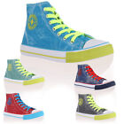 WOMENS BRIGHT CANVAS LADIES LACE UP HI TOP DESIGN TRAINERS PLIMSOLLS SIZE 3-8