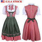 3PCS Women Oktoberfest Dress German Bavarian Ethnic Trachten Beer Dirndl Costume