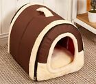 CUTE PORTABLE BRICK POLKA DOT PORTABLE Dog House Kennel Nest W/ Mat